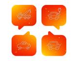Electric car, evacuator and transport icons.