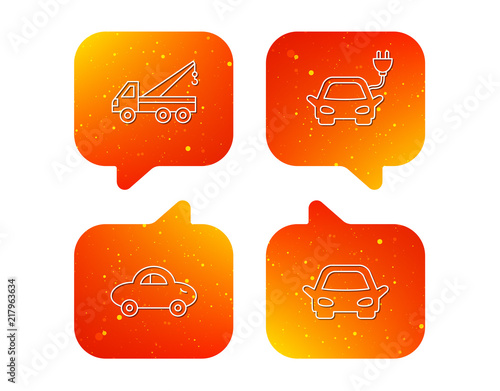 Fridge magnet Electric car, evacuator and transport icons.