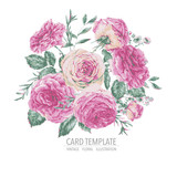 Vector vintage floral greeting card with pink roses - 217964063