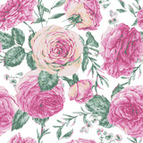 Vector vintage floral greeting card with pink roses - 217964231