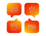 Hamburger, carrot and chips icons.