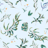 Vector seamless pattern of green leaves and succulents - 217965009