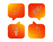Ice Hockey Basketball And Badminton Icons Sticker