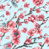 Vector spring greeting card with pink blooming branches - 217966813