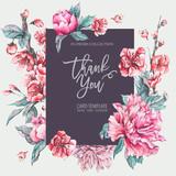 Vector nature card pink flowers, blooming peonies - 217967093