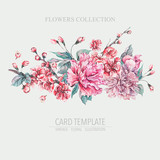Vector nature card pink flowers, blooming peonies - 217967286