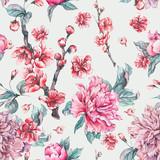 Vector nature seamless pattern, pink flowers blooming peonies