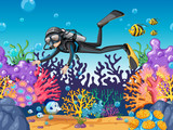 Scuba diver diving in beautiful reef - 217974290