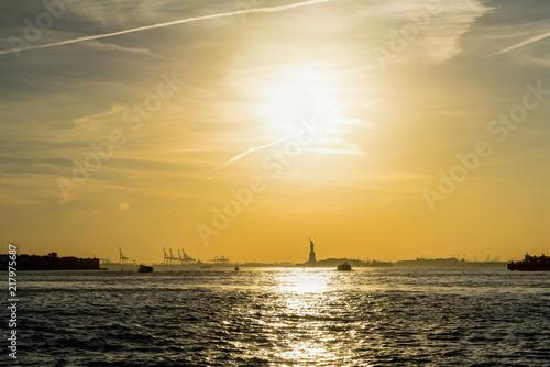 New York Sunset Statue of Liberty Hudson River