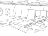 Aircraft interior graphic black white sketch illustration vector - 217988823