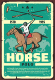 Polo tournament or horse race vintage sport poster