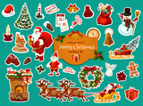 Fototapety Christmas and New Year winter holiday sticker