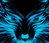 Abstract Vector Powerful Cyan Wolf