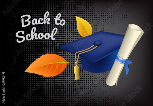 back to school lettering with graduation cap offer or sale