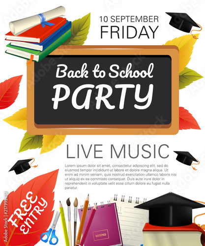 back to school party flyer design with fall foliage graduation caps