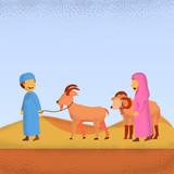 Eid Adha Mubarrak Illustration Two Kids Bring Their Sheep And Goat Vector Flat Cartoon