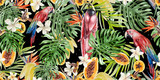 Beautiful watercolor tropical pattern with parrots and flowers of hibiscus and strelitzia. Tropical fruits papaya and bananas. - 217999856