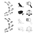 Traces on the ground, service shepherd, security camera, fingerprint. Prison set collection icons in black,outline style vector symbol stock illustration web.
