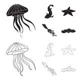 Jellyfish, squid and other species.Sea animals set collection icons in black,outline style vector symbol stock illustration web.