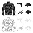 Body tattoo, piercing machine, napkins. Tattoo set collection icons in black,outline style vector symbol stock illustration web.