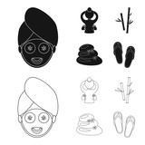 Face with a cosmetic mask with cucumbers, massage hands, bamboo, stones with lotus flowers. Spa set collection icons in black,outline style vector symbol stock illustration web.