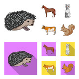 Horse, cow, cat, squirrel and other kinds of animals.Animals set collection icons in cartoon,flat style vector symbol stock illustration web.