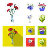 A bouquet of fresh flowers cartoon,flat icons in set collection for design. Various bouquets vector symbol stock web illustration.