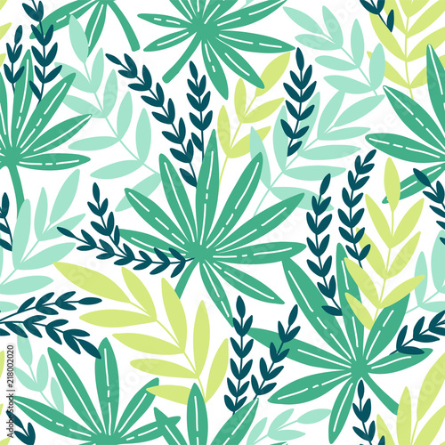 Seamless pattern with exotic leaves. Tropical leaves of palm tree. - 218002020