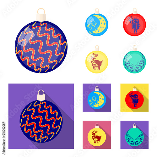 New Year Toys cartoon,flat icons in set collection for design.Christmas balls for a treevector symbol stock web illustration.