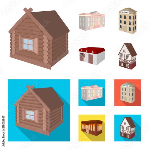 Budynek muzeum, trzypiętrowy hotel, stajnia na torze wyścigowym, dom mieszkalny. Architektoniczne i budynek ustalone inkasowe ikony w kreskówce, mieszkanie stylowa wektorowa symbolu zapasu ilustraci sieć.