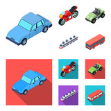 Motorcycle, golf cart, train, bus. Transport set collection icons in cartoon,flat style vector symbol stock illustration web.