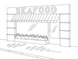 Seafood store shop exterior graphic black white sketch illustration vector - 218010862