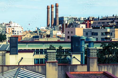 In de dag Barcelona Vue sur les toits et cheminée de Barcelone