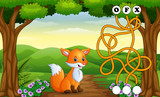 Game fox maze find way to the word