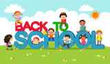 Back to school vector banner with school kids characters
