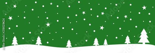 Zielona kartka bożonarodzeniowa z płatkami śniegu i gwiazdami