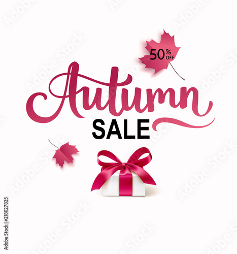 Autumn sale template design backround with autumn maple leaves and decorative gift box. Vector calligraphic lettering text