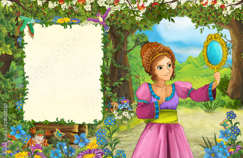 cartoon scene with princess in the forest - title page with space for text - illustration for children - 218028260
