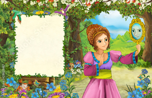 cartoon scene with princess in the forest - title page with space for text - illustration for children - 218028487