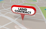 Land Contract Home Ownership Buy Lease Property Map Pin 3d Illustration - 218038202