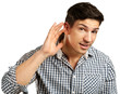 man having hearing problem listening to something