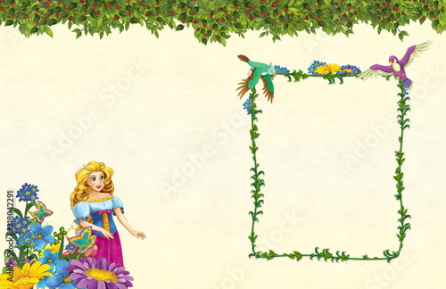 cartoon scene with floral frame - beautiful girl - princess- title page with space for text -  illustration for children - 218042291