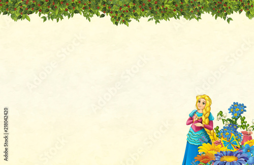 cartoon scene with floral frame - beautiful girl - princess- title page with space for text -  illustration for children - 218042420