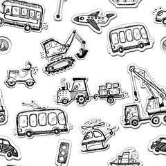 Funny cars seamless pattern. Doodle sketch inked illustration.