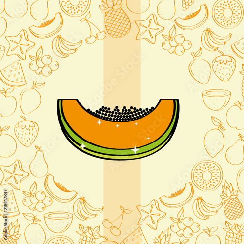 papaya fruits nutrition background pattern vector illustration - 218047847
