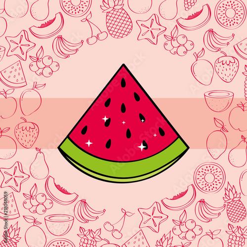 watermelon fruits nutrition background pattern vector illustration