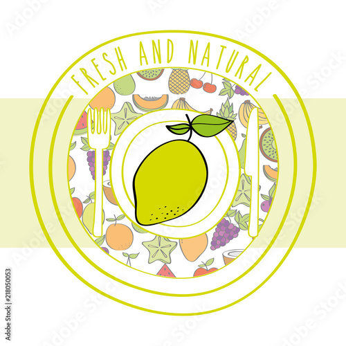 Poster lemon fresh and natural fruits food label vector illustration