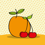 fresh orange and cherries on dotted background vector illustration - 218050614