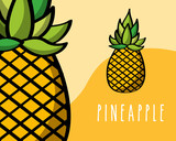 pineapples fruit tropical fresh natural on colored background vector illustration - 218050872