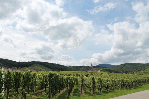 Canvas Blauwe hemel route des vins d'alsace
